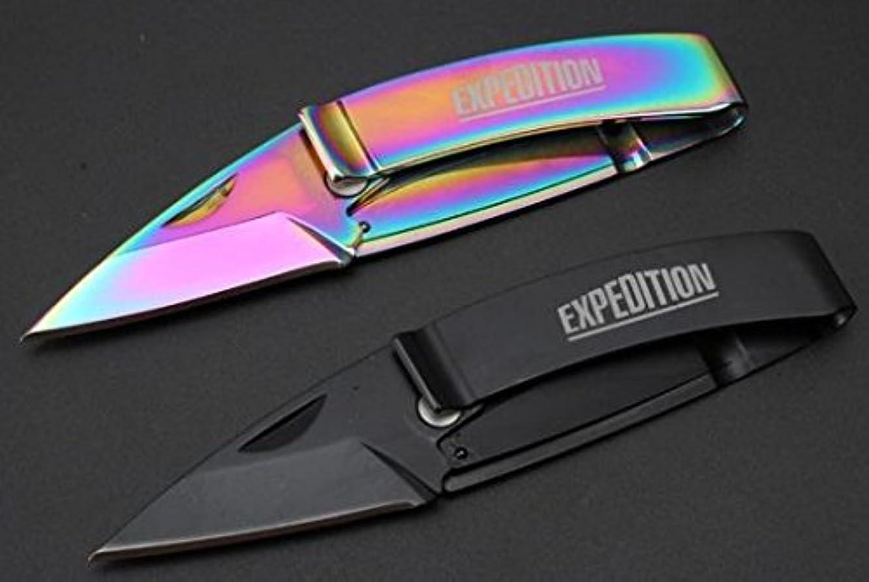 第五コーン同僚(2 Pcs) 新版L075 マネークリップ 折りたたみナイフ 直刃
