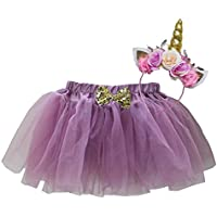 Kirei Sui Girls Soft Tulle Tutu & Shiny Flowers Unicorn Headband