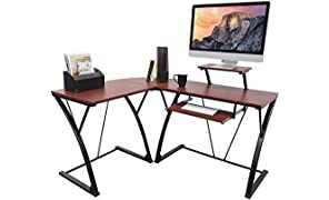 activiva L-Shaped Corner Office Computer Desk for Home Office, PC Desktop Gaming & Study Desk with Sliding Keyboard Tray & Detachable Shelf/Monitor Stand in Wood & Steel