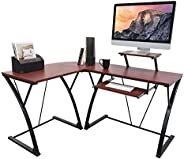 activiva L-Shaped Corner Office Computer Desk for Home Office, PC Desktop Gaming & Study Desk with Sliding Keyboard Tray & D