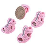 Outfun 犬用靴 犬靴 犬シューズ ドッグシューズ サンダル メッシュ マジックテープ ピンク サイズXXS サイズ1 一足分4個セット