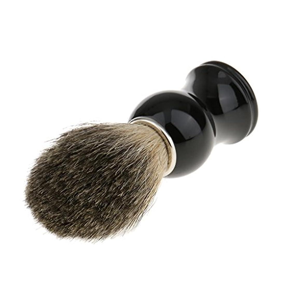 参加者四分円カーペットPerfk 人工毛 シェービングブラシ 柔らかい 理容  洗顔  髭剃り 便携 乾くやすい 11.2cm 全2色 - ブラックハンドル