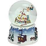 NorthLightサンタクロースonソリとSnowy Village回転ミュージカルクリスマスWater Globeドーム、5.5インチ、ブルー