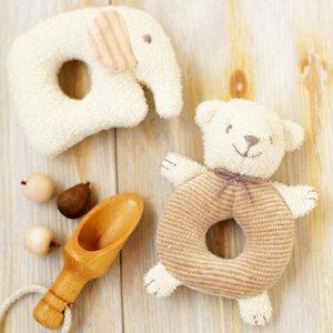(ハマナカ) ベビー 赤ちゃん おもちゃ の 手作りキット がらがら くまとぞう ※オーガニックコットン 使用