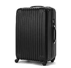 (ファーストドア) 1STDOOR 超軽量スーツケース TSAロック付 (Mサイズ(54L), ブラック)