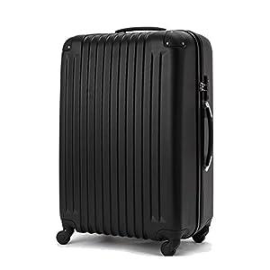(トラベルデパート) 超軽量スーツケース TSAロック付 (Mサイズ(54L), ブラック)