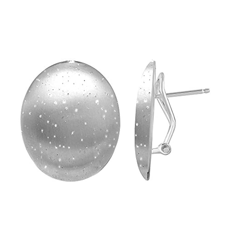 ヘリコプター集団的裏切り者jewelstop。925スターリングシルバー17 x 20 mm Shiny Star Dustオーバルシェイプポストイヤリング、オメガバック