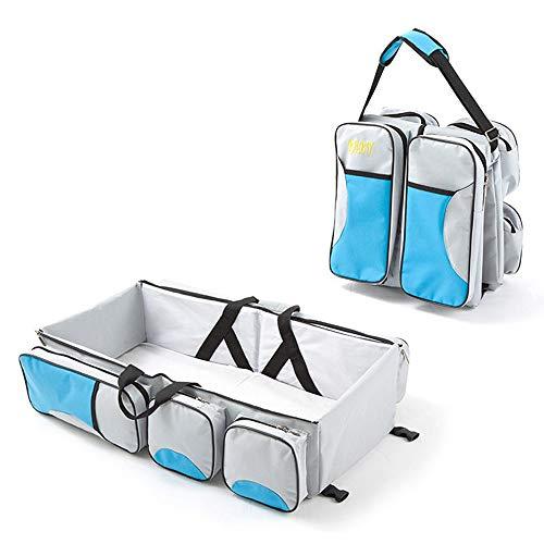 折り畳み式ベビーベッド ポータブルベビーベッド ベビーベッド用 持ち運び ベッド 大容量 多機能 女の子 男の子 ショルダーバッグ ベビー連れの旅行 外出などに 0~12ヶ月のお子様のため (Blue)