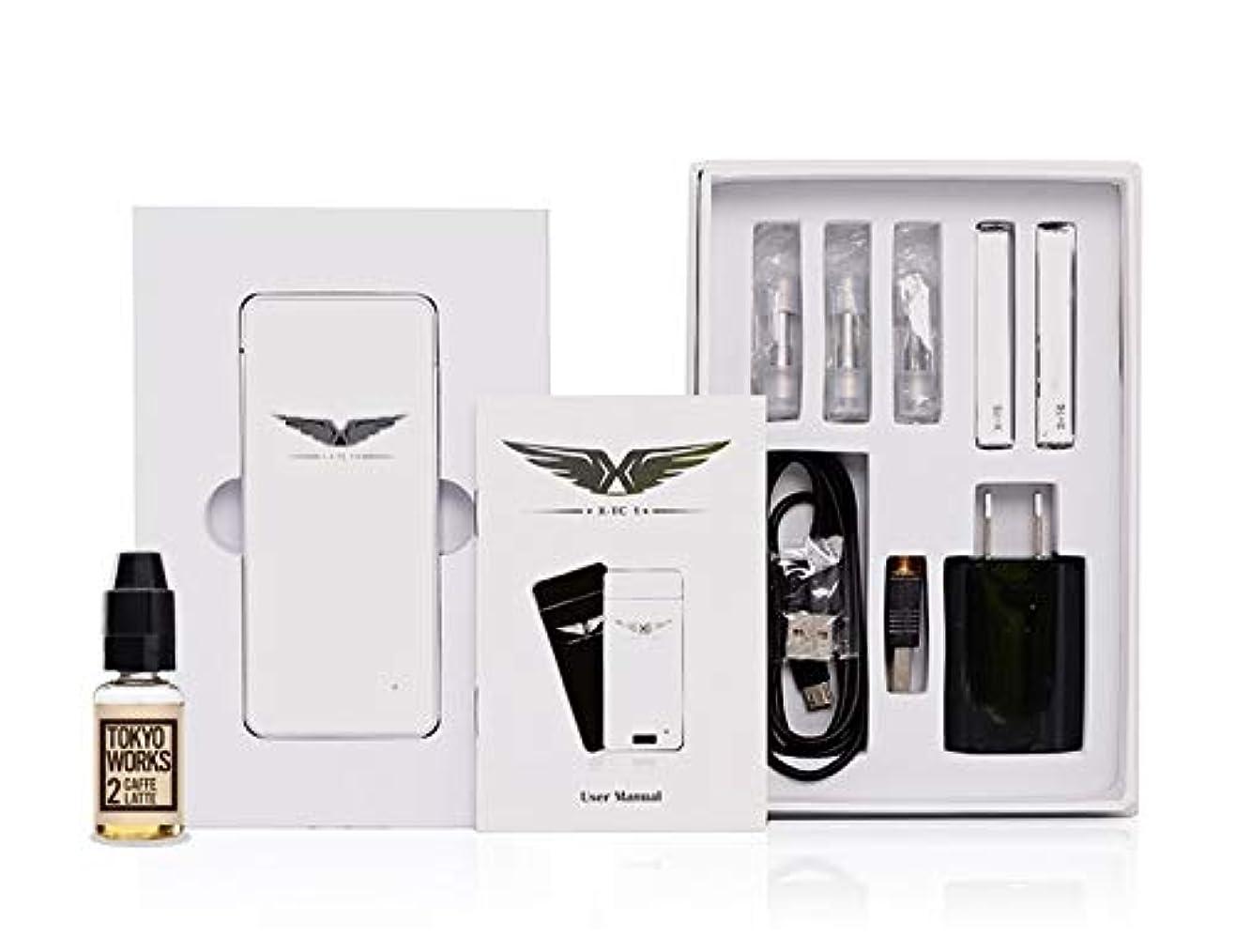 スローガン溢れんばかりの民主主義X-TC1(ホワイトカラー TOKYO WORKSカフェラテセット)/ シガレット型/VAPE / 電子タバコ/スターターキット /JOECIG/最新型アトマイザー付き /禁煙セット/USBアダプター付き/日本語説明書付き