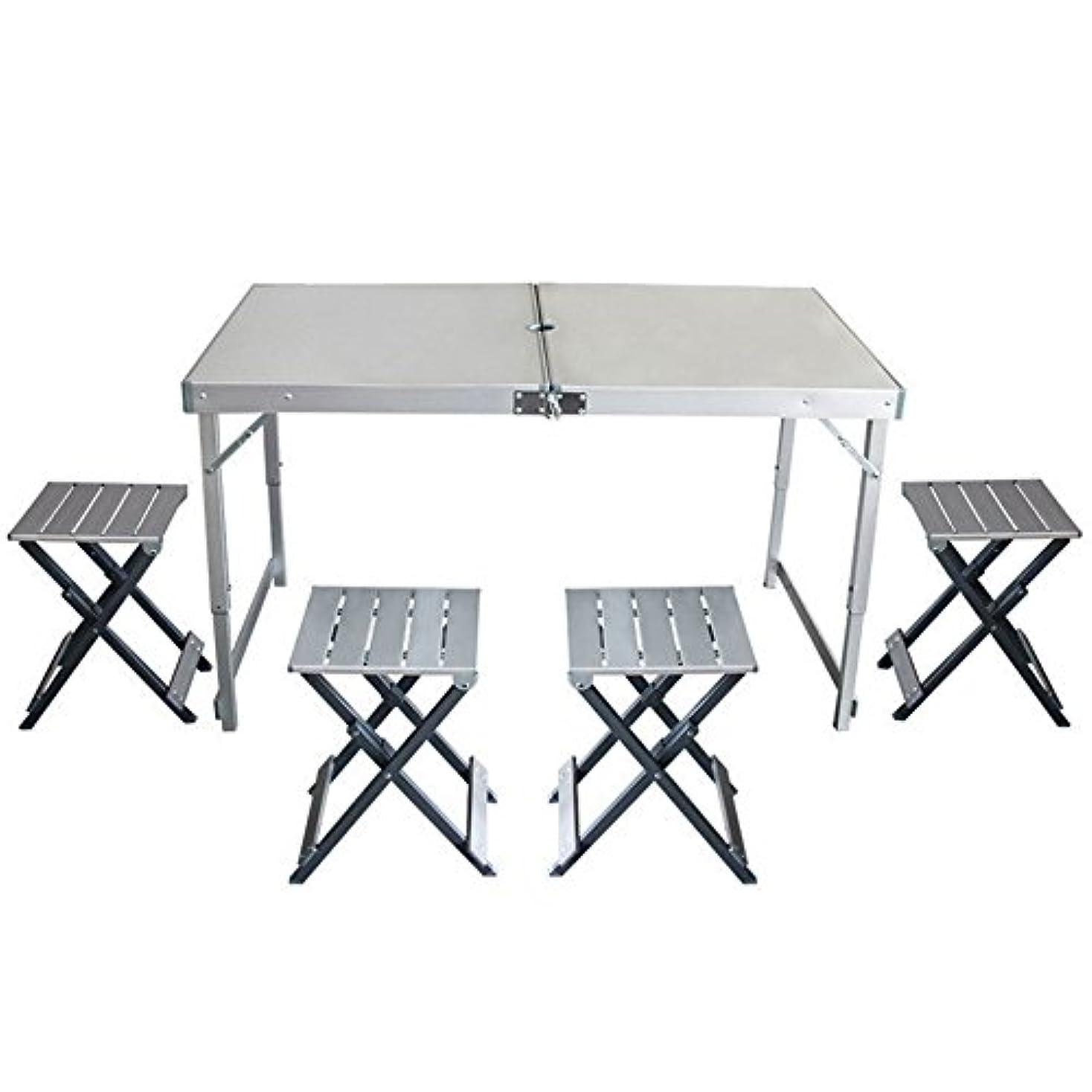 製品和らげる狂うピクニックテーブル屋外テーブルと椅子の組み合わせアルミ折りたたみテーブルと椅子ポータブルバーベキューテーブル、折りたたみデザイン アウトドア キャンプ用