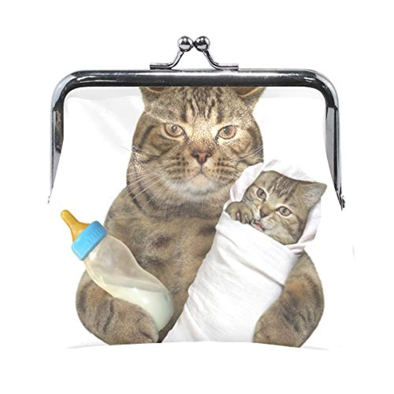 AOMOKI 財布 小銭入れ ガマ口 コインケース レディース メンズ レザー 丸形 おしゃれ プレゼント ギフト デザイン オリジナル 小物ケース 猫柄 親子 可愛い猫