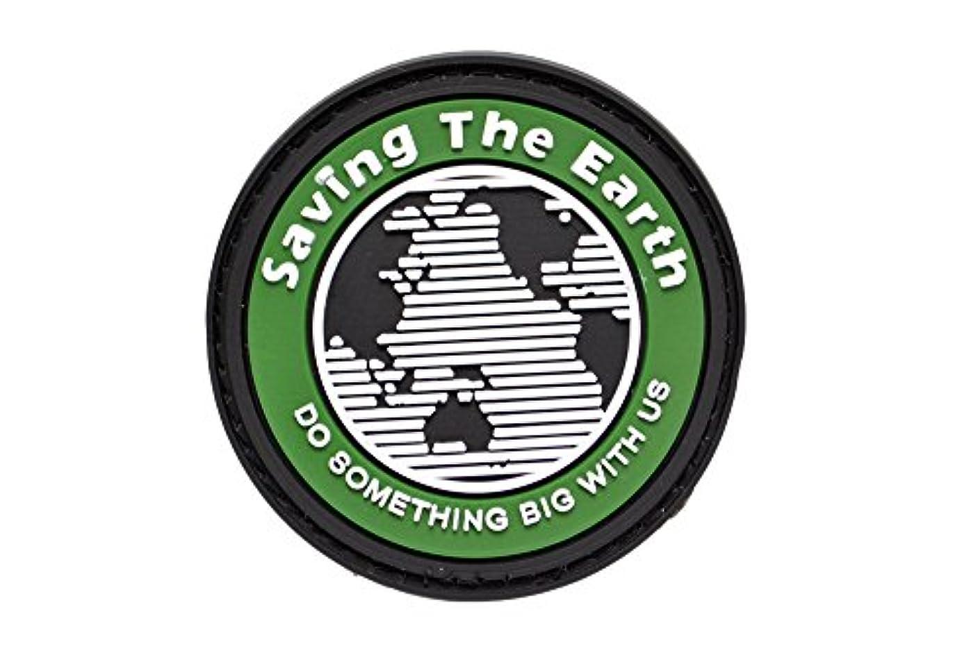甥アピール確認PVC製 丸型 Saving The Earth ワッペン パッチ ベルクロ付 オリーブドラブ OD
