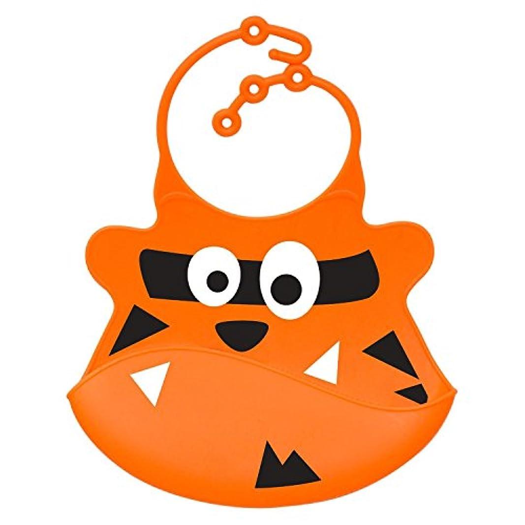 十代の若者たち禁輸エイリアンNrpfell ビブ ソフトシリコン 赤ちゃんのビブ クラムキャッチャー付き オレンジ色