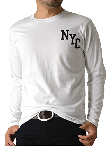 (リミテッドセレクト) LIMITED SELECT P2 長袖 Tシャツ メンズ カットソー ロング ロンT アメカジ ミリタリー ロゴ プリント RQ0771 3L B-1 ホワイト