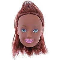 Domybest 人形頭 人形アクセサリー ウィッグ ヘア 人形ヘッド バービー ケーキ人形 黒肌 アフリカ DIY 玩具 ドール髪 かつら ボディアクセサリー キット 着せ替え人形パーツ ごっこ遊び 子供 キッズ 女の子 可愛い