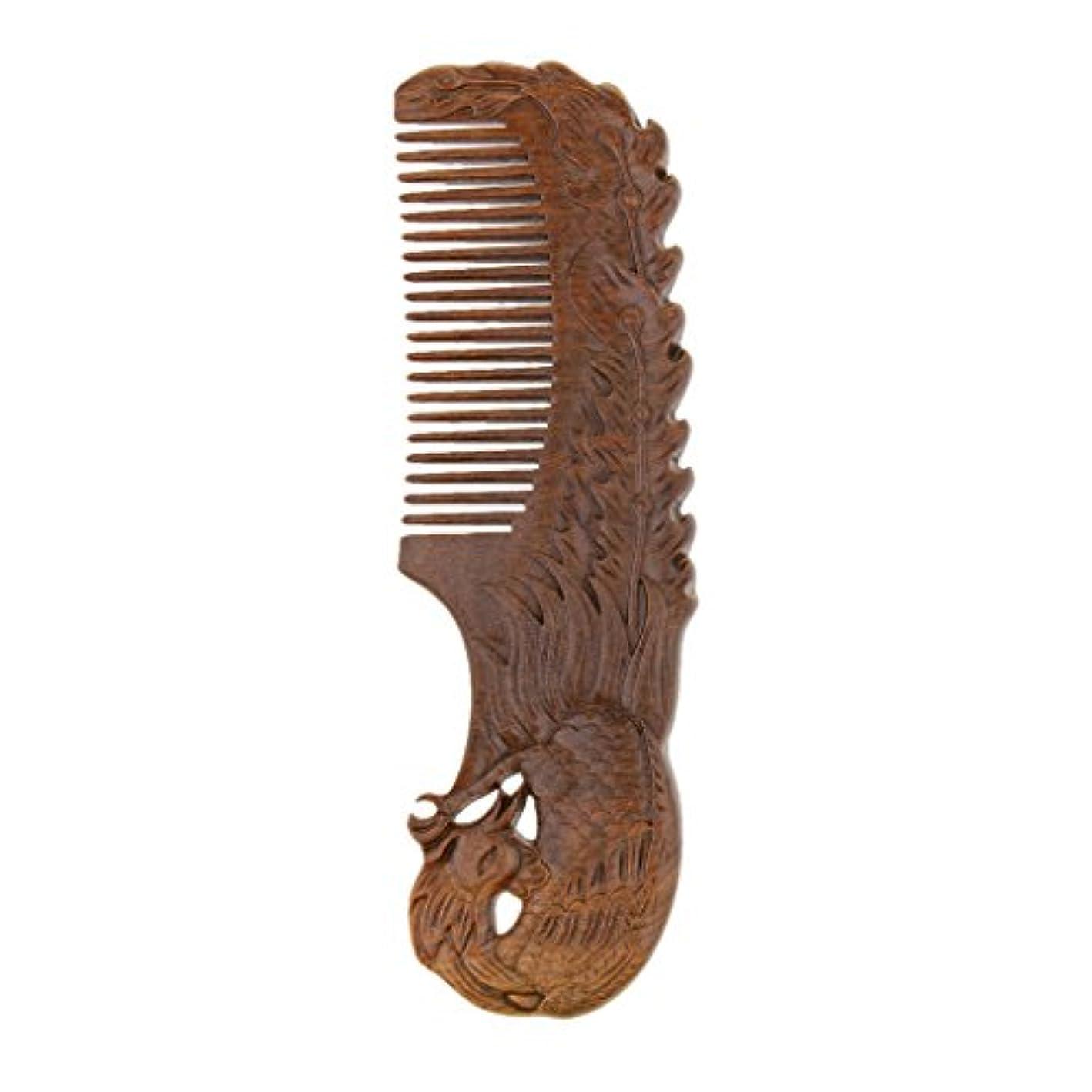 パトワ女の子歴史的ウッドコーム ナチュラル サンダルウッド ワイド歯 ブラシ ヘアスタイリング デタングリングコーム 2タイプ - Phoenix