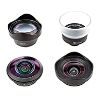 Perfk スマホレンズキット 4 in 1 望遠レンズ+魚眼レンズ+広角レンズ+マクロレンズ HD 旅行 風景