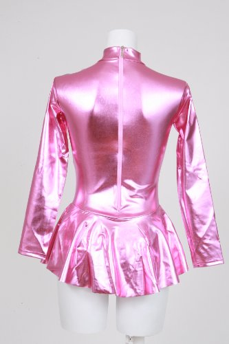 Shiny metallic long sleeve high neck with skirt Leotard pink (AR04) men l