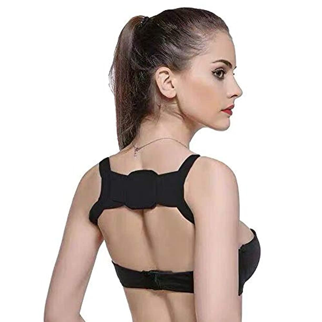 できない滑りやすい新年DZSW 女性&男性のためのバックポスチャコレクター - マジックステッカー調節可能な鎖骨バックブレース(ユニバーサル) (Color : Black, Size : Body weight (60-75Kg))