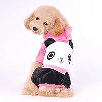 パンダ柄の犬の冬の子犬セータージャケット服パーカーコートペット用品:ブルー、M