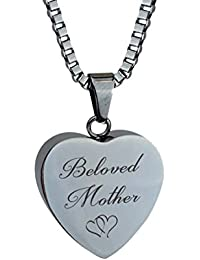 Beloved母Hearts Urnペンダントwith彫刻 – 記念アッシュ記念品 – 火葬ジュエリー