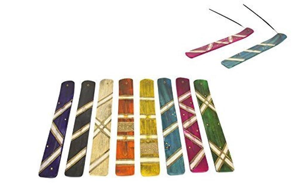 引き潮人生を作る不適1pce 25 cm Inlay木製Incense Holder in 8色アソートtoから選択 ブラック INDWIH