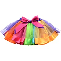 OULII Girls Rainbow Tutu Skirt Ruffle Tiered Dance Dress Party Supplies for Girls 7-9 Years Old
