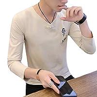 Beeatree メンズスリムロングスリーブVネックコンフォート100%コットンステッチTシャツ Pattern11 M