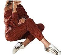 sayahe 女性ニットスタイリッシュソリッドスリム2ピースロングスリーブセータートラックスーツセット Wine Red S