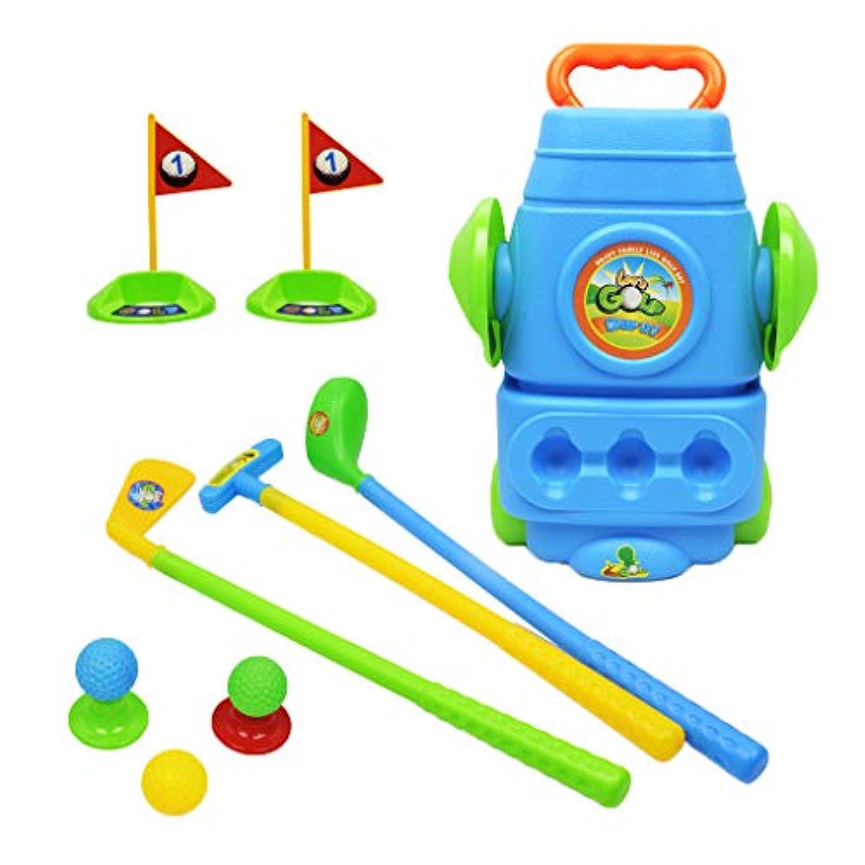 KESOTO 2色選ぶ 高品質 ミニ ゴルフボール ゴルフクラブ ゴルフプレイキット  - 青