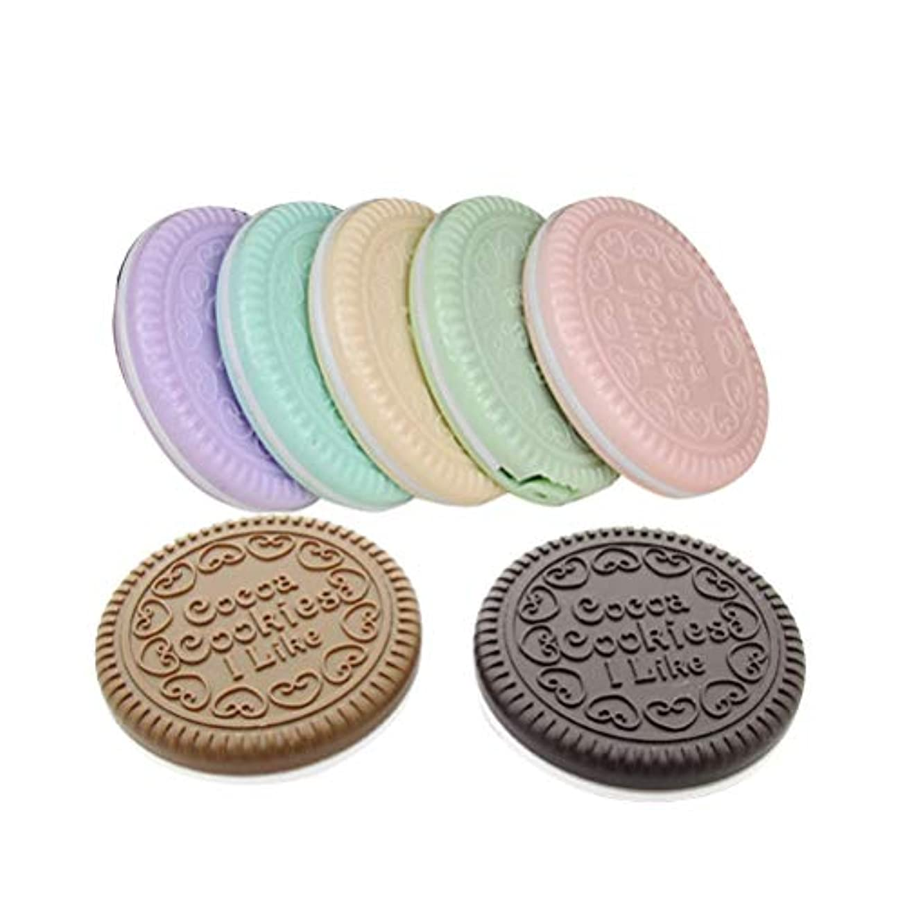 援助する代理人プレフィックスBeaupretty 7ピースチョコレートクッキーコンパクトミラーポータブル化粧鏡かわいい装飾ミラー用櫛女性女の子レディース