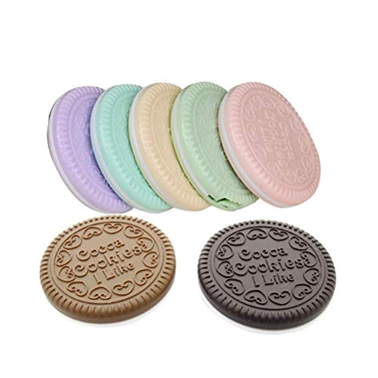 パイル海里多様性Beaupretty 7ピースチョコレートクッキーコンパクトミラーポータブル化粧鏡かわいい装飾ミラー用櫛女性女の子レディース