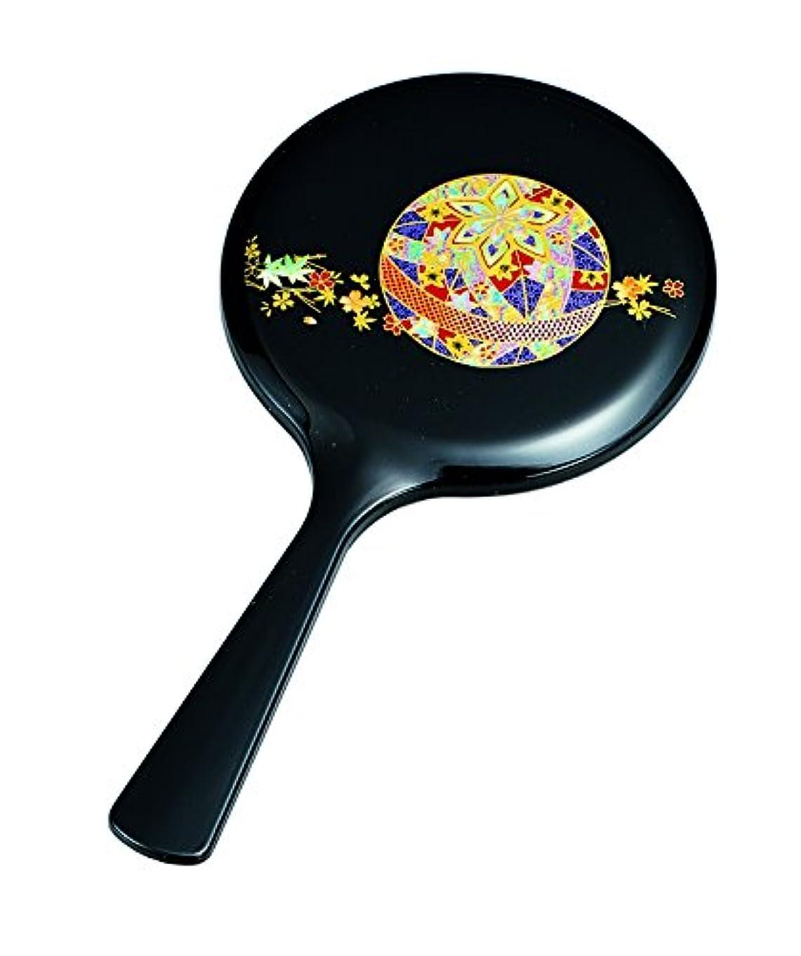 締め切り一部条件付き中谷兄弟商会 ミラー 黒 21.0×10.8×1.0cm 雅手鏡 黒 花てまり