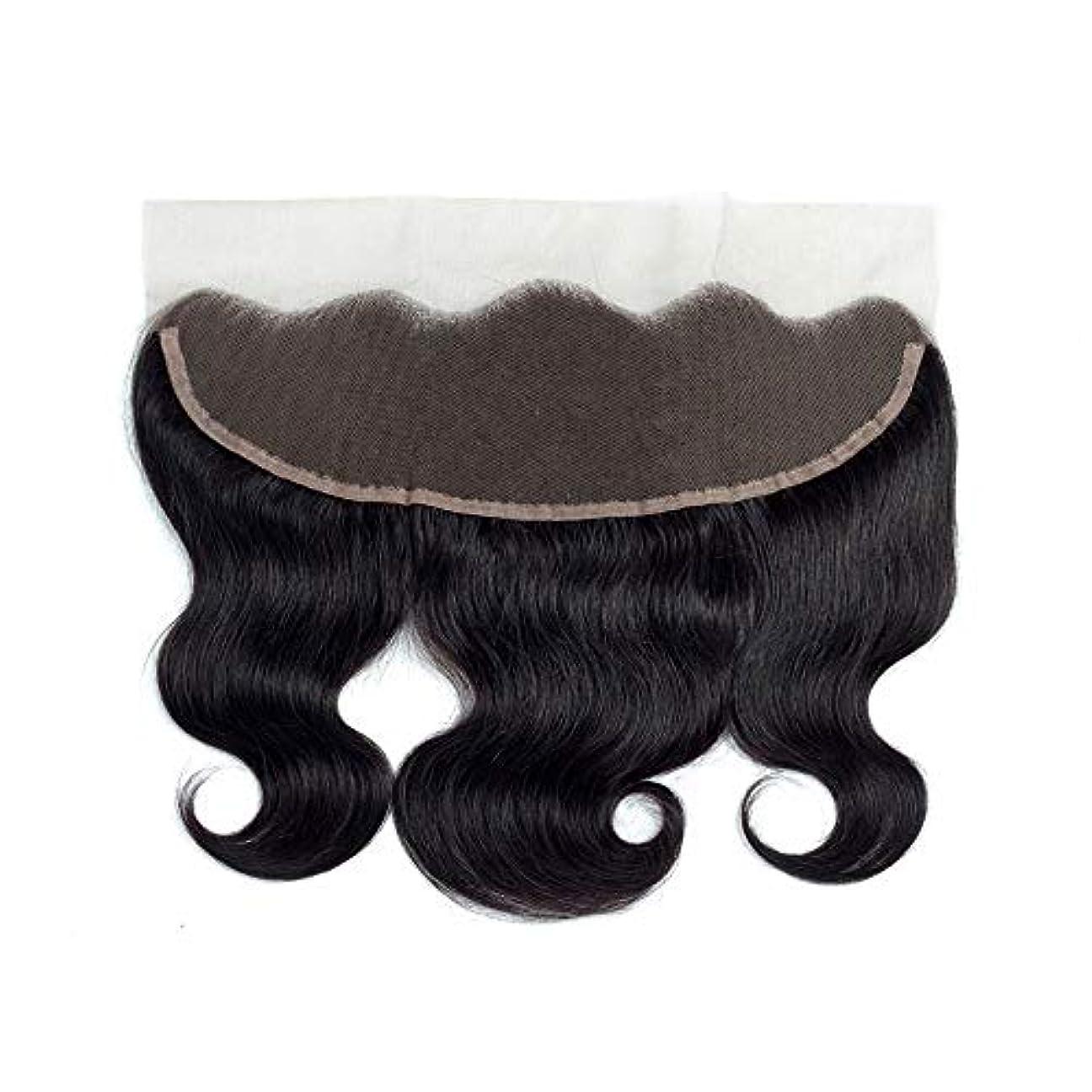市場フォアタイプ迷彩WASAIO 閉鎖前頭ボディウェーブ人間の拡張クリップUnseamed本能的ブラックカラー13 * 4レースでブラジルの髪 (色 : 黒, サイズ : 8 inch)