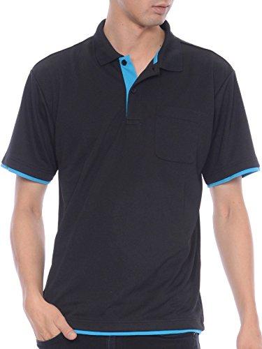ティーシャツドットエスティー ポロシャツ ドライ 半袖 レイヤード ポケット付き UVカット 4.4oz メンズ ブラック×ターコイズ LL