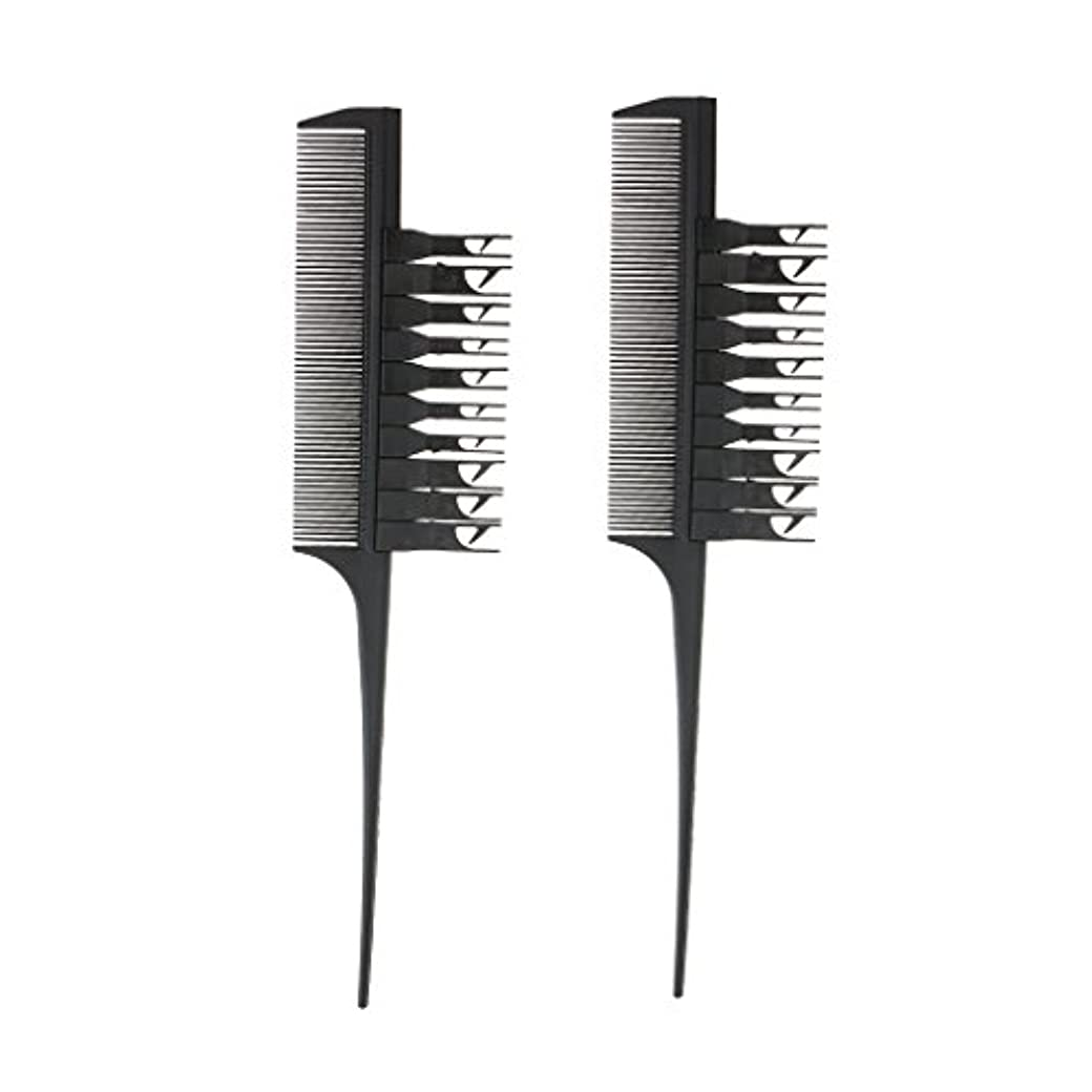 森伝染性の簡潔なT TOOYFUL 2個 ヘアダイブラシ ヘアカラーリング コーム 櫛 プラスチック ブラック