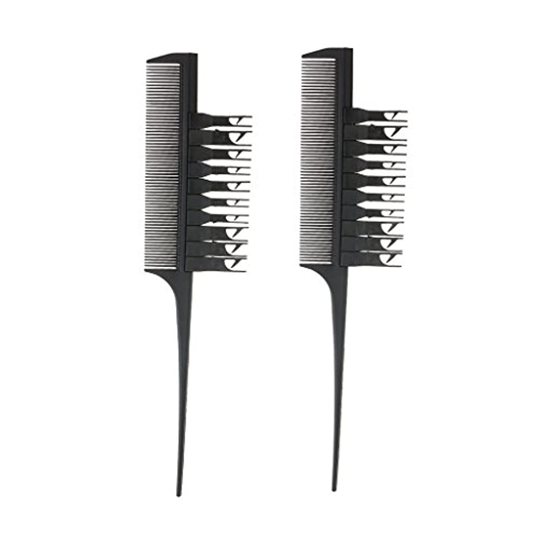 自己音声学広告2個 ヘアカラーリング ヘアダイブラシ コーム 櫛 (ブラック)