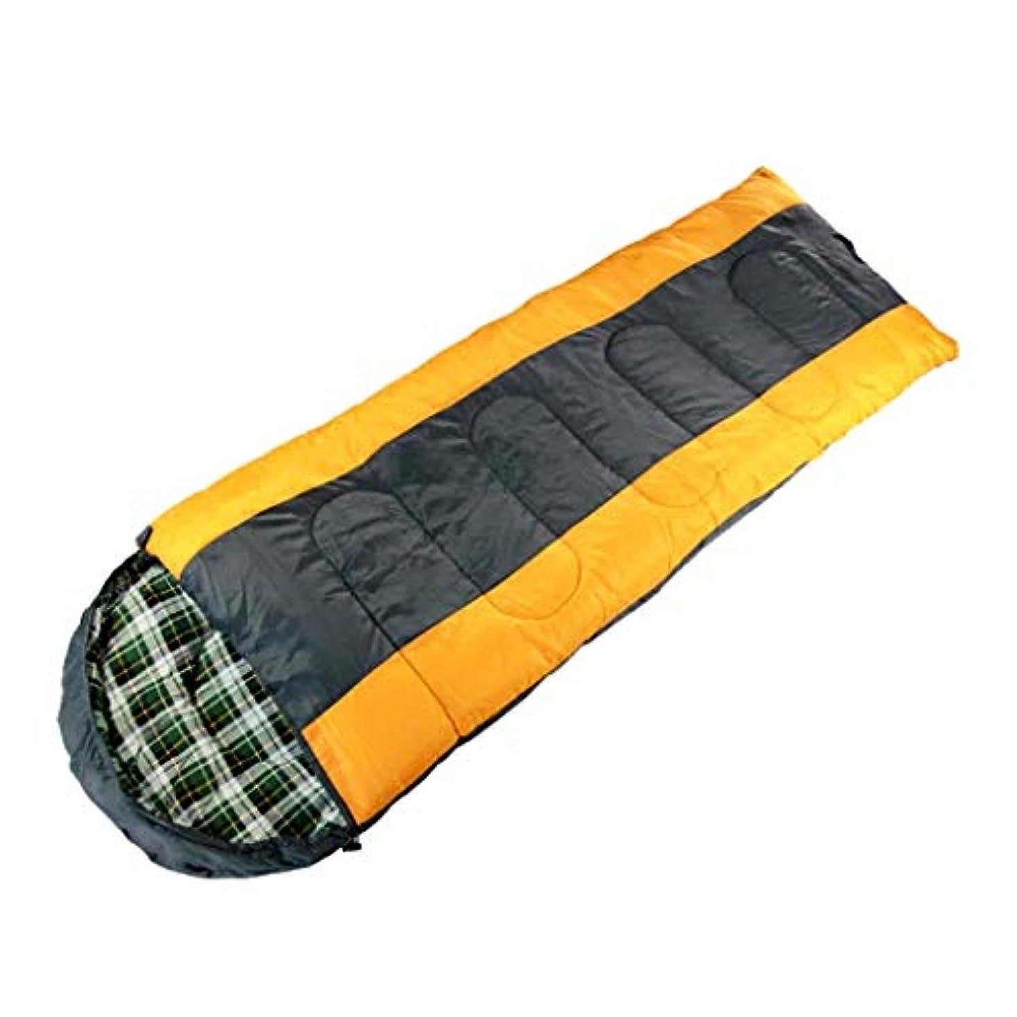 ちょうつがいカート必要としている軽量大人の寝袋フード付きキャンプ防水暖かい3-4シーズン寝台用旅行ハイキング屋内野外活動イエローグレー