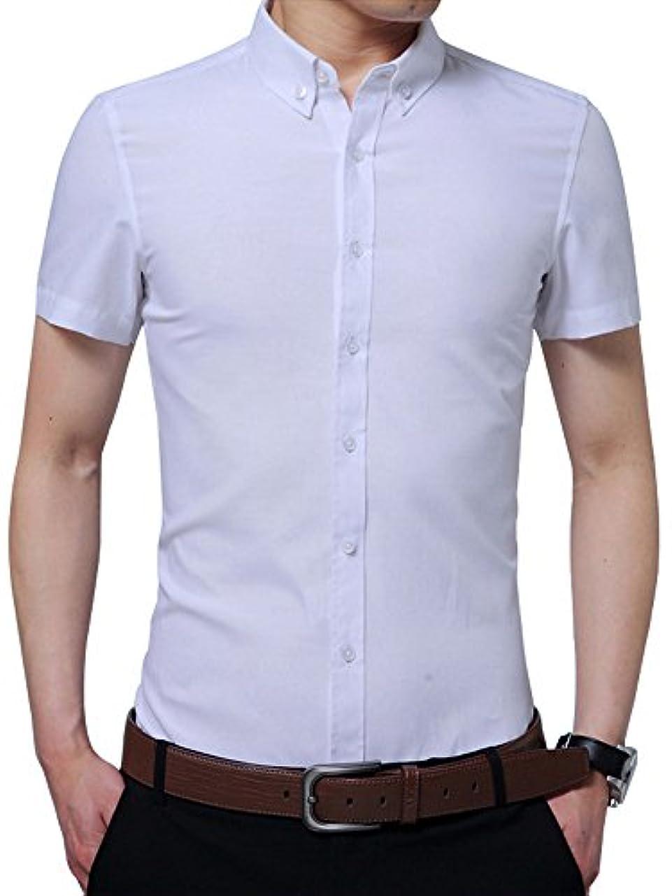 後方険しいブロックする(ワイ-ミー) Y-ME メンズ 半袖シャツ ワイシャツ 無地 ビジネス
