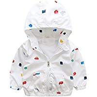 Foyeria Jacket Coat Outerwear Spring Print Cartoon Hooded Casual Water Resistance For Baby Girls Boys