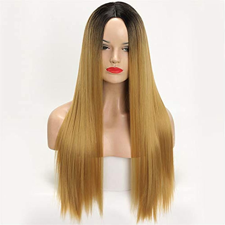それる報いるサバントかつらロングストレートヘア女性勾配化学繊維フードオンブルブラックブロンドロングストレート高温合成繊維ウィッグ女性用ウィッグ30インチ