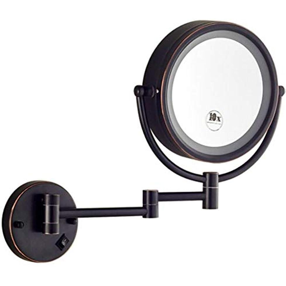 幹動かす速報HUYYA シェービングミラー バスルームメイクアップミラー LEDライト付き、8インチ化粧鏡 壁付 7 倍拡大鏡 バニティミラー 両面 丸め 寝室や浴室に適しています,Black_Hardwired connection