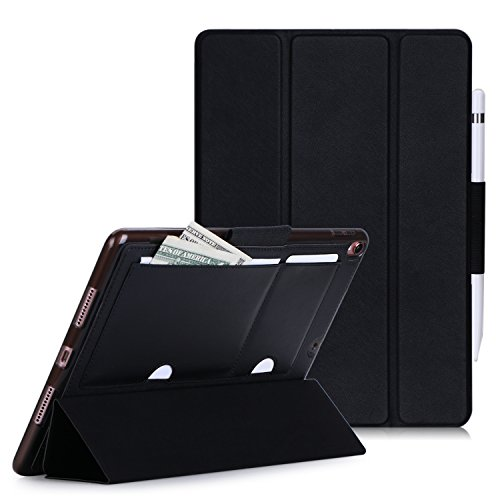 iPad Pro 10.5 ケース iPad 10.5 ケース ipad pro 10.5 カバー,Fyy 良質PUレザーケース 薄型 軽量 三つ折りスタンド機能 オートスリープ機能対応 長いタッチペンホルダー カードポケット付き スマートカバー (ブラック)