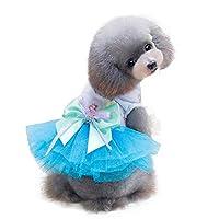 犬 服 春 夏 フリル かわいいリボン付き 姫糸 ワンピース チュチュ ドレス スカート 小型犬・猫用 ペットウェア