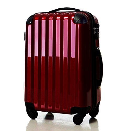 スーツケース中型・超軽量・Mサイズ・TSAロック・旅行かばん・ キャリーバッグ ワインレット 6202M (ワインレット)