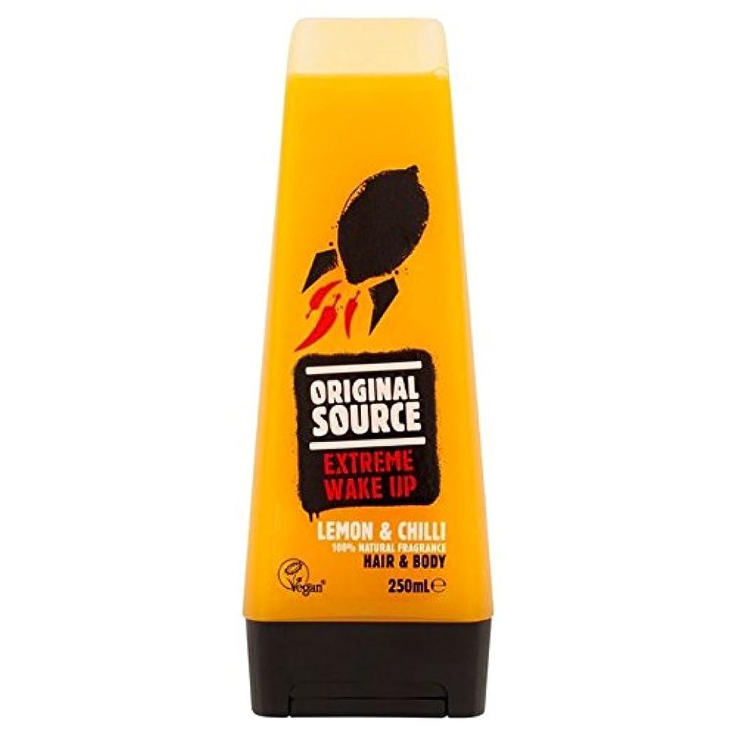 脅かす身元変更可能元のソースは、レモン&チリヘア&ボディシャワージェル250ミリリットルメンズ x4 - Original Source Mens Lemon & Chilli Hair & Body Shower Gel 250ml (...