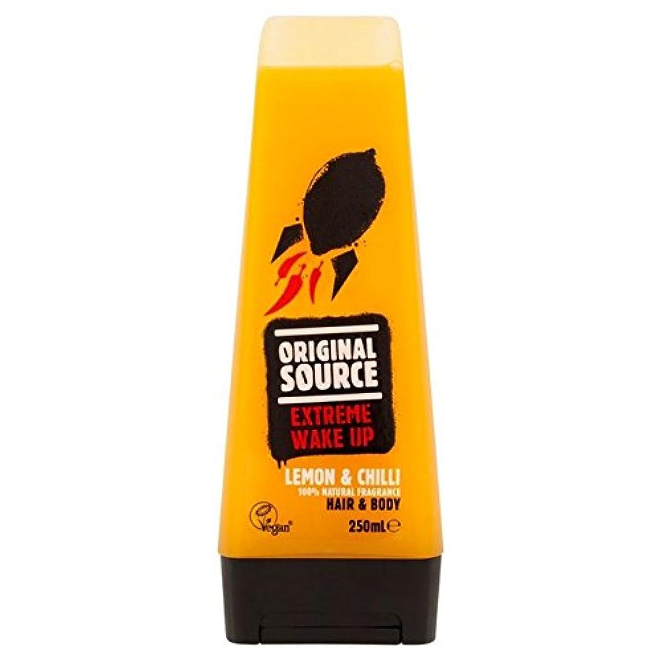 封筒泥定刻元のソースは、レモン&チリヘア&ボディシャワージェル250ミリリットルメンズ x4 - Original Source Mens Lemon & Chilli Hair & Body Shower Gel 250ml (...