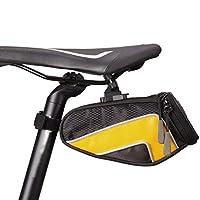自転車シートバッグ防水、自転車ナイロンテールバッグマウンテンバイクリアシートバッグ乗馬機器アクセサリーサドルバッグ,Yellow,S