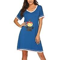 Ekouaer Nightshirts Women's Sleepwear Cotton Sleep Shirts V Neck Short Sleeve Nightgown S-XXL