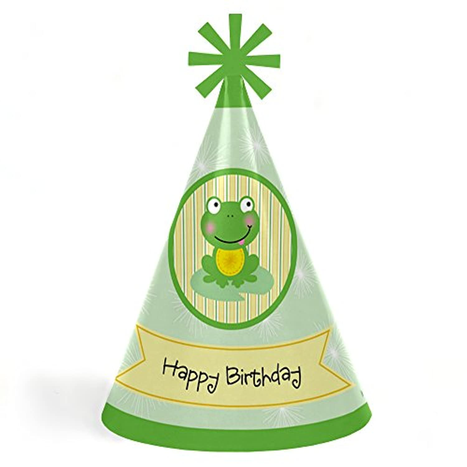 Froggy Frog - Cone Happy Birthday Party Hats for Kids and Adults - Set of 8 (Standard Size)